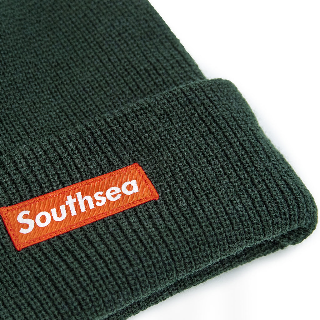 "Bored of Southsea ""Southsea"" Beanie in Bottle Green - Detail"
