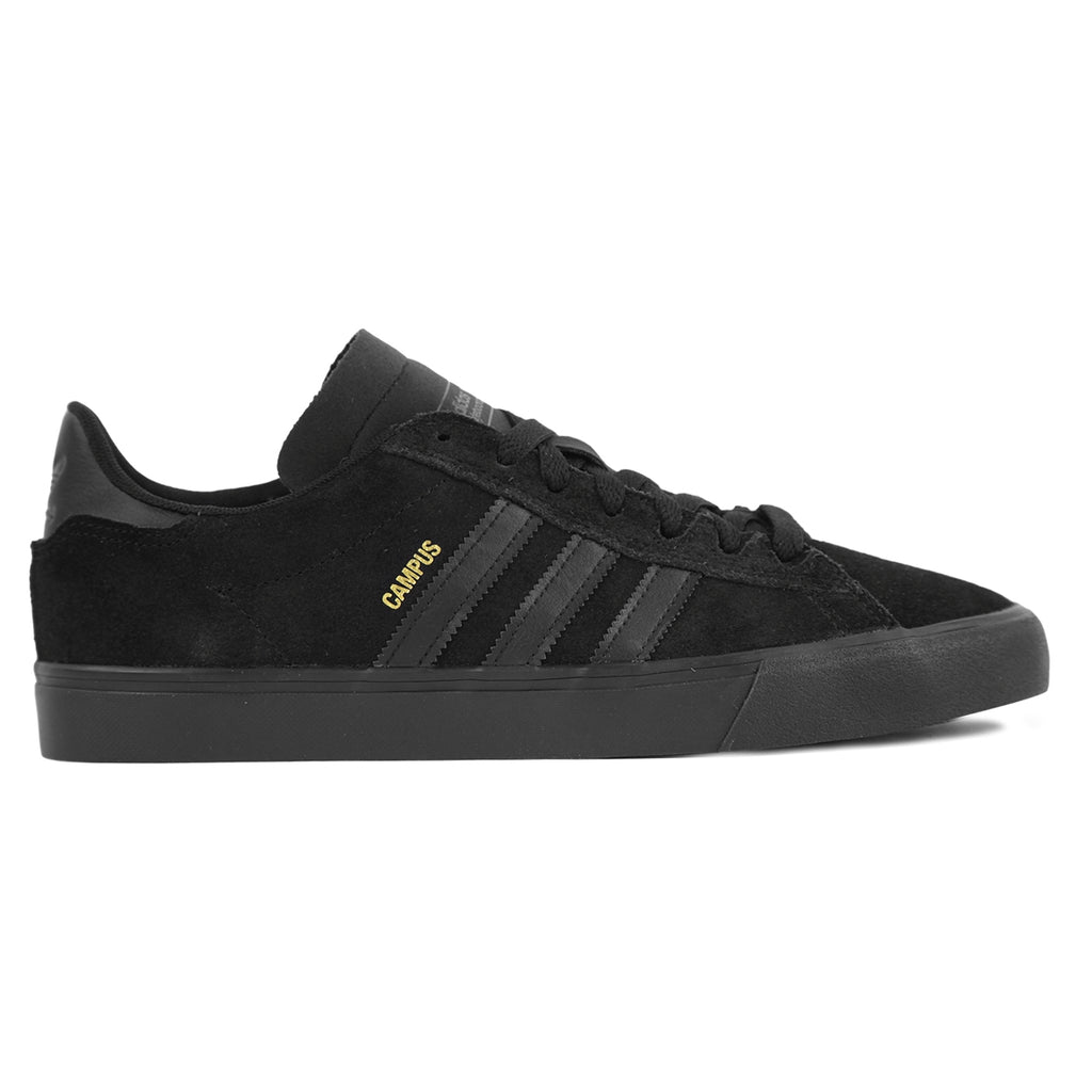 Adidas Skateboarding Campus Vulc II Shoes in Core Black / Core Black / Core Black
