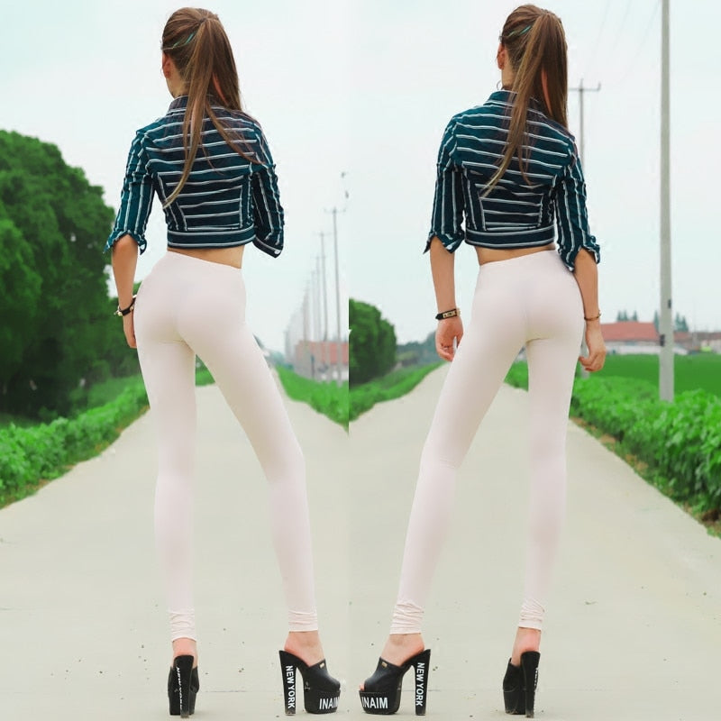 New Sexy See Through Pencil Pants Ice Silk White Transparent Causual Pants
