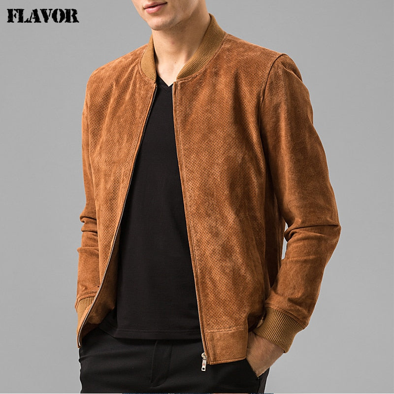 Men's Pigskin real and Genuine Leather Baseball jacket