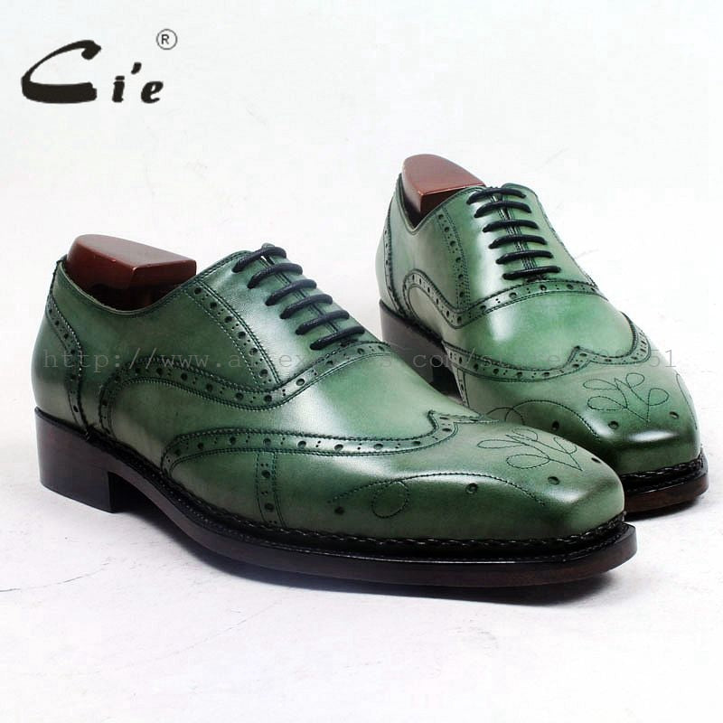 Square Toe Lace-up Patina Green 100% Genuine calf Leather Man Shoe