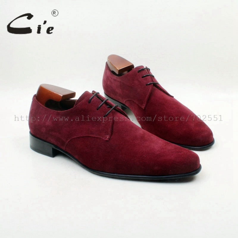 Deep Wine Calf Leather Suede Plain Lace-up Derby non smelly Footwear