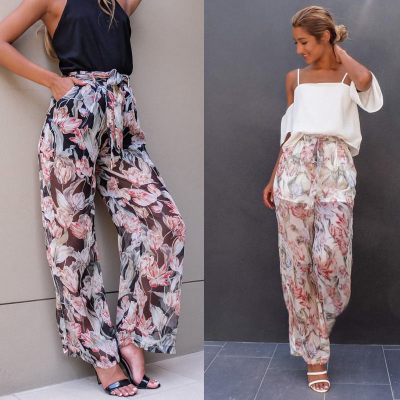 WomenTie Waist Floral Print Chiffon Wide Leg Palazzo Pants Loose Pockets Front Bottom Wear