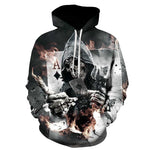 Hot selling loose hooded men's  poker print hoodie.
