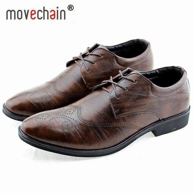 Men's Lace-Up Leather Dress Wedding Flats Man Business Office casual Shoes