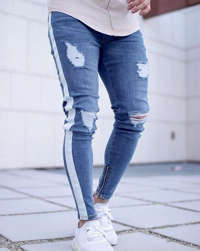 Casual men's jeans tight striped jeans