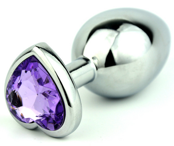 Small Light Purple Heart Steel Butt Plug