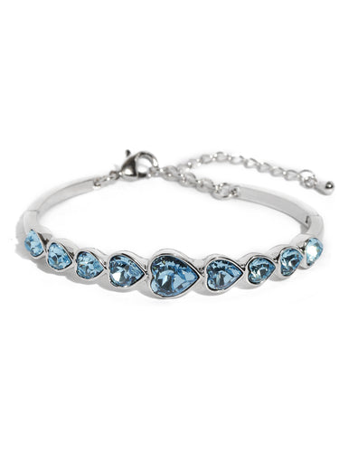 Stylze  Deep Ocean Love Hearts Bracelet for Women and Girls with Genuine Swarovski Cyrstals