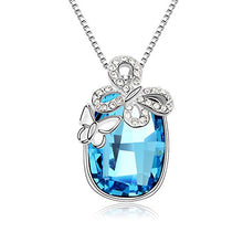 Load image into Gallery viewer, Silver Butterfly Blue Austrian Crystal Pendant with Studded Chain for Girls and Women