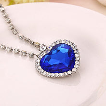 Load image into Gallery viewer, The Blue Ocean Heart Austrian Crystal Pendant with Studded Chain for Girls