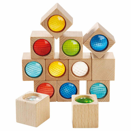 Haba Wooden Kaleidoscopic Building Blocks 13 Piece Set