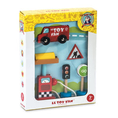 Le Toy Van Petrol Pump and Road Sign Set Packaging