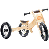 Wooden 4-in-1 Balance Bike and Trike Brown
