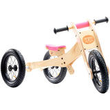 Wooden 4-in-1 Balance Bike and Trike Pink