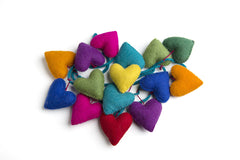 Rainbows & Clover Felt Love Heart Garland Rainbow Colours