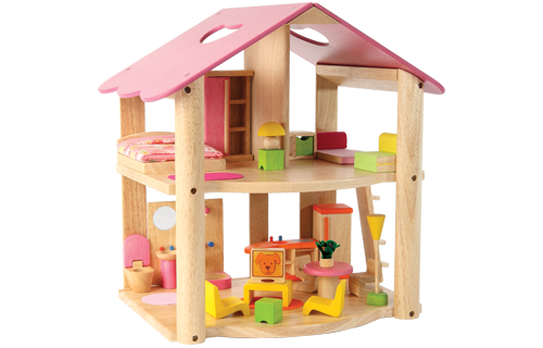 Voila - Wooden Little Pink Doll House with Furniture 7