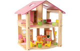 Wooden Little Pink Doll House with Furniture