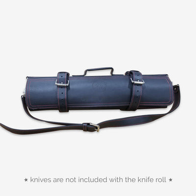 Leather Knife Bag (Black w/ Red Stitches)
