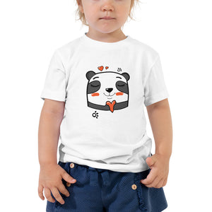 Cute Panda - Bella + Canvas 3001T Toddler Short Sleeve Tee with Tear Away Label