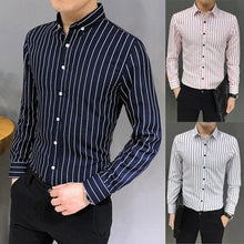 Load image into Gallery viewer, Mens Suit Fit Long Sleeve Button Striped Down Dress Shirts Tops Blouse