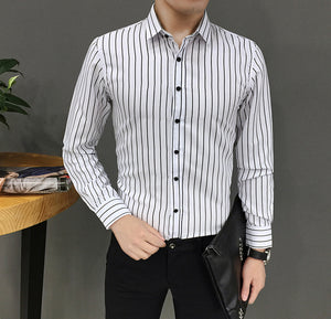 Mens Suit Fit Long Sleeve Button Striped Down Dress Shirts Tops Blouse