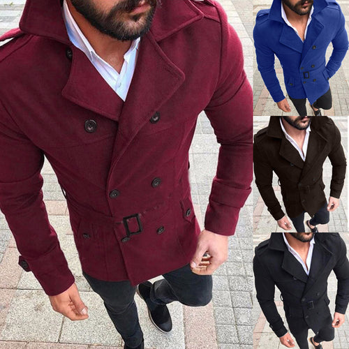 Men's Autumn Winter Slim Fit Long Sleeve Suit Top Jacket Trench Coat Outwear