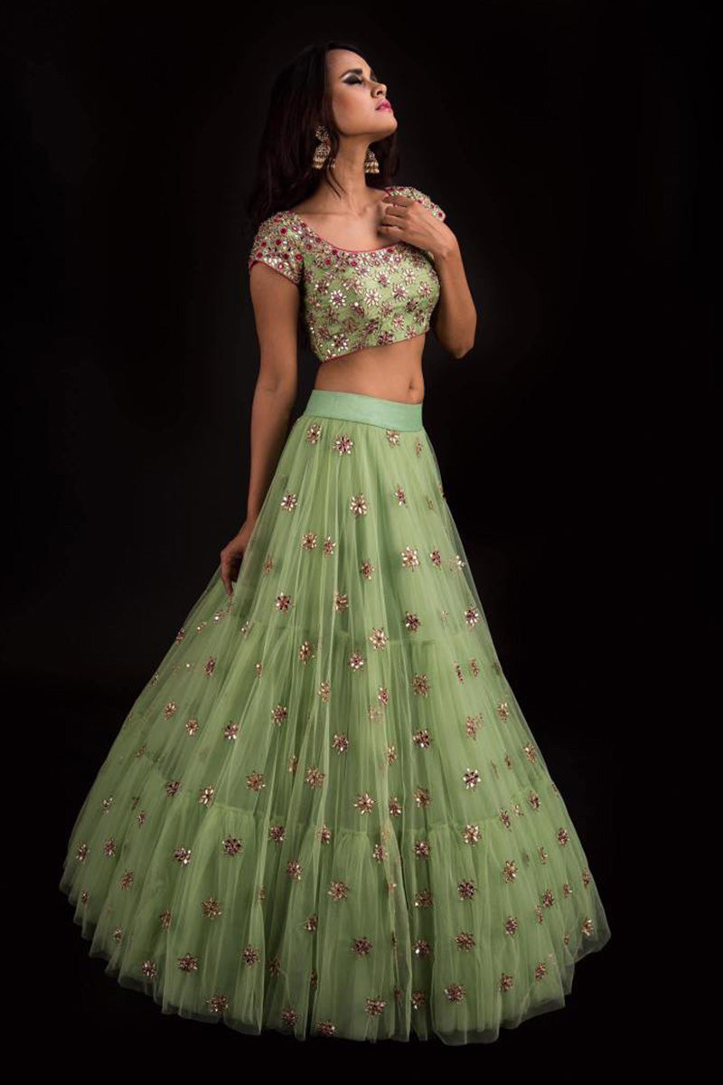 A Light Green Color Embroidered Fully Designer Lehenga Choli FF1802