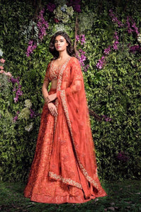 A Blush Red Embroidered Mainly Bride Lehenga Choli FF1536