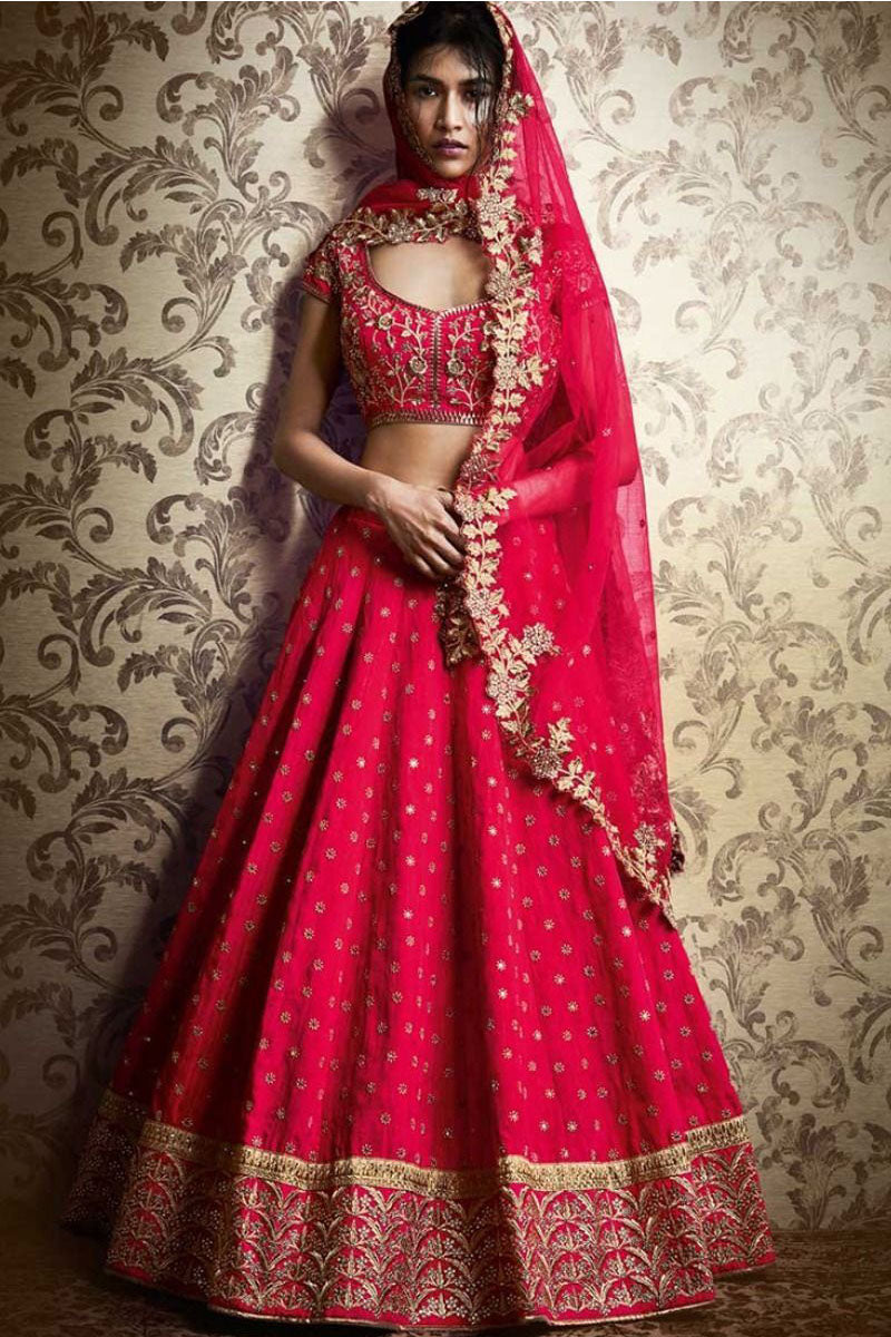 Exclusive Heavy Designer Beautiful Dark Pink Color Bridal Lehenga Choli FF213