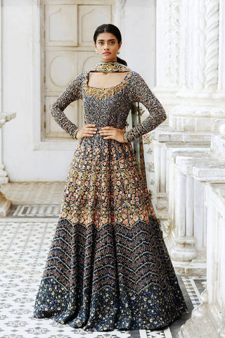 Beautiful Navy Blue Color Attractive Designer Embroidered Gown FFSK-2035