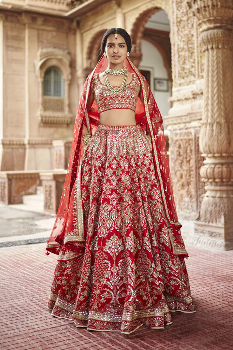 Exclusive Heavy Designer Beautiful Bridal Red Color Bridal Lehenga Choli FF199