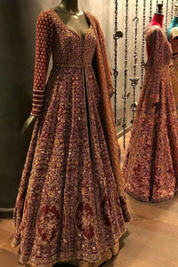 Exclusive Heavy Designer Bridal Look Maroon Color Pakistani Salwar Kameez FF266