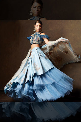 A Blueish Tone  Embroidered Lehenga Choli FBL-1025