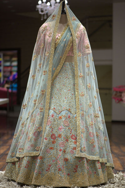 A Cambridge Blue Sequins Embroidered Raw Silk Bridal Lehenga FF1153