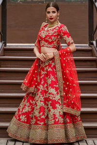 A Red Silk Zari Embroidered Bridal Lehenga FF2653