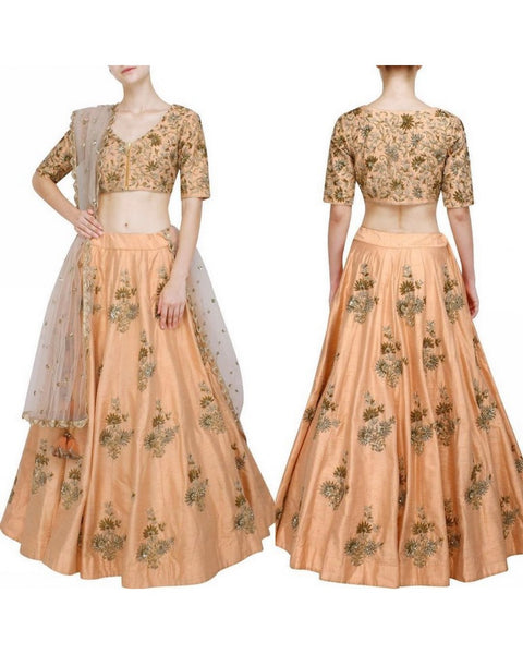 A Cream Color Embroidered Fully Designer Lehenga Choli FF1804