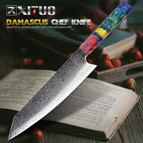 XITUO 8 Inch Cleaver Japanese Damascus Stainless Steel Chef Knife