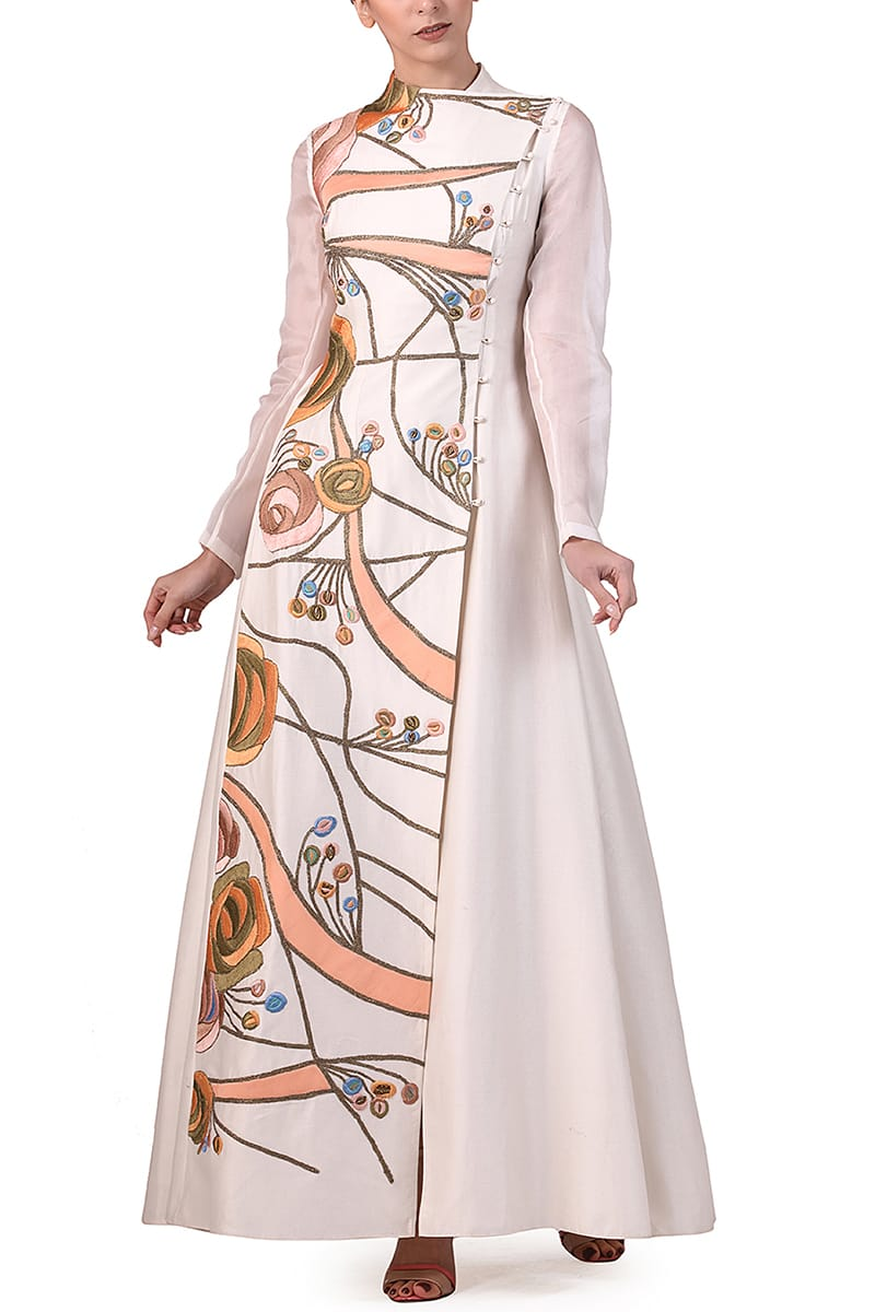 Overlap Placket Embroidered Gown
