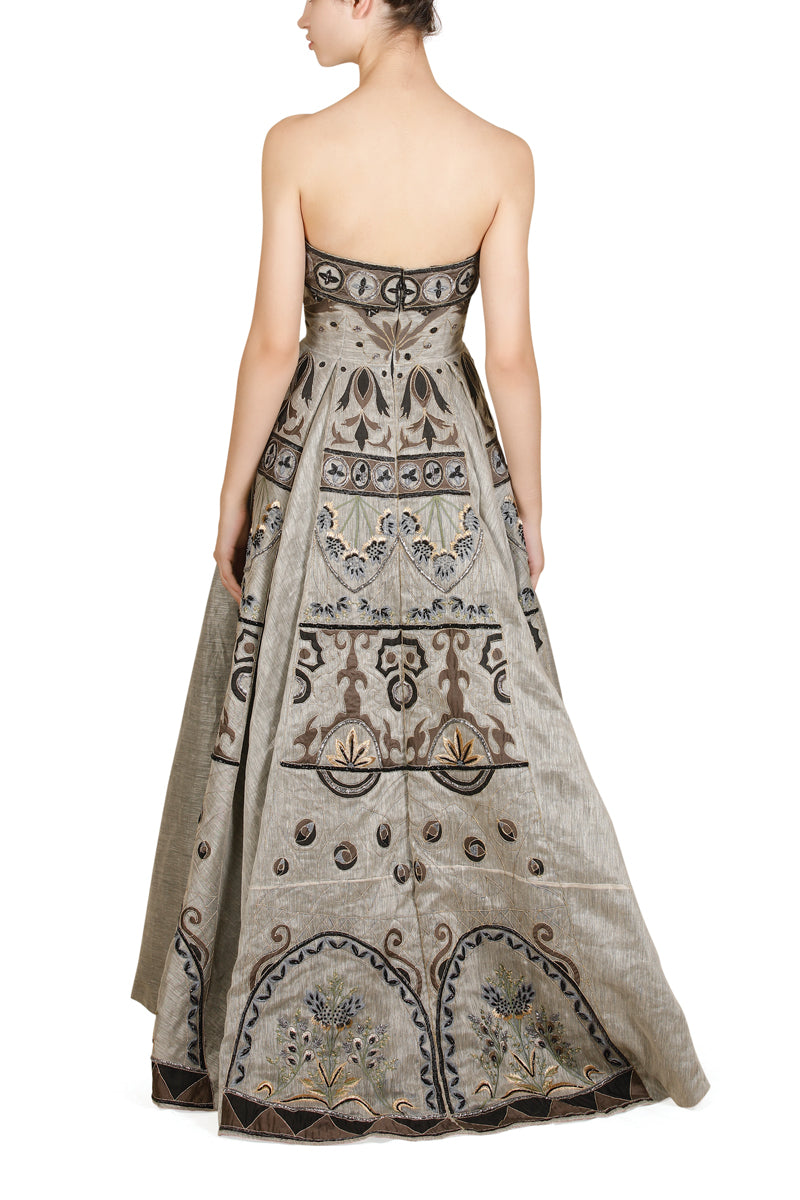 Fit & flare Bustier Embroidered Gown