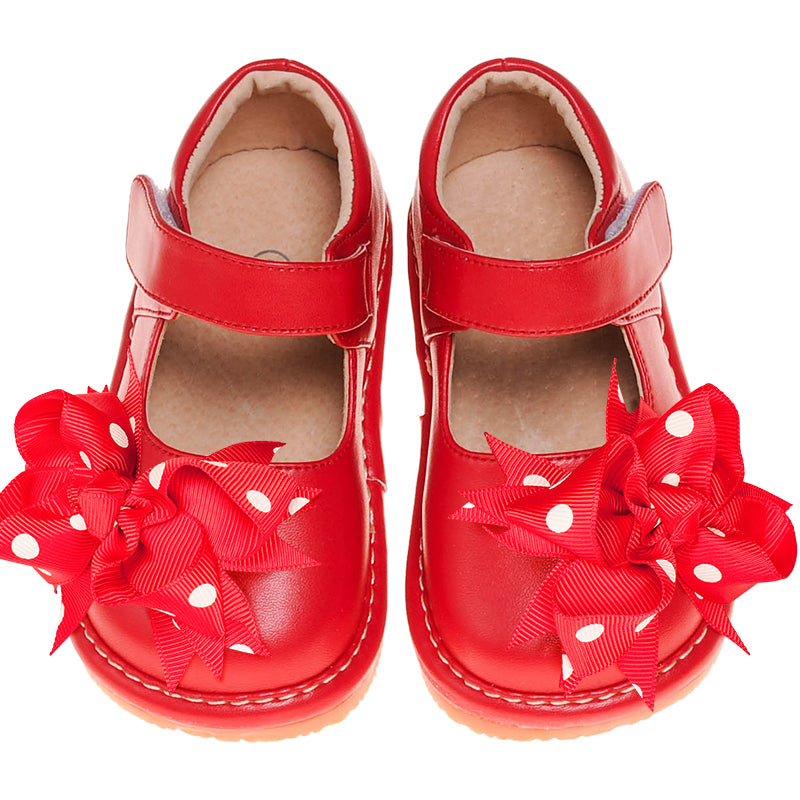 Leather Toddler Girl's Mary Jane Red Clip on Bow Squeaky Shoes