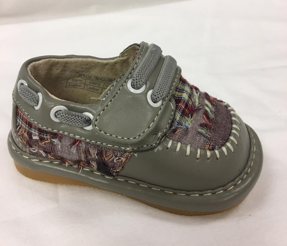 Discontinued Color. Size 1,2 only! Toddler Boy's  Leather Grey Plaid Style Squeaky Shoes