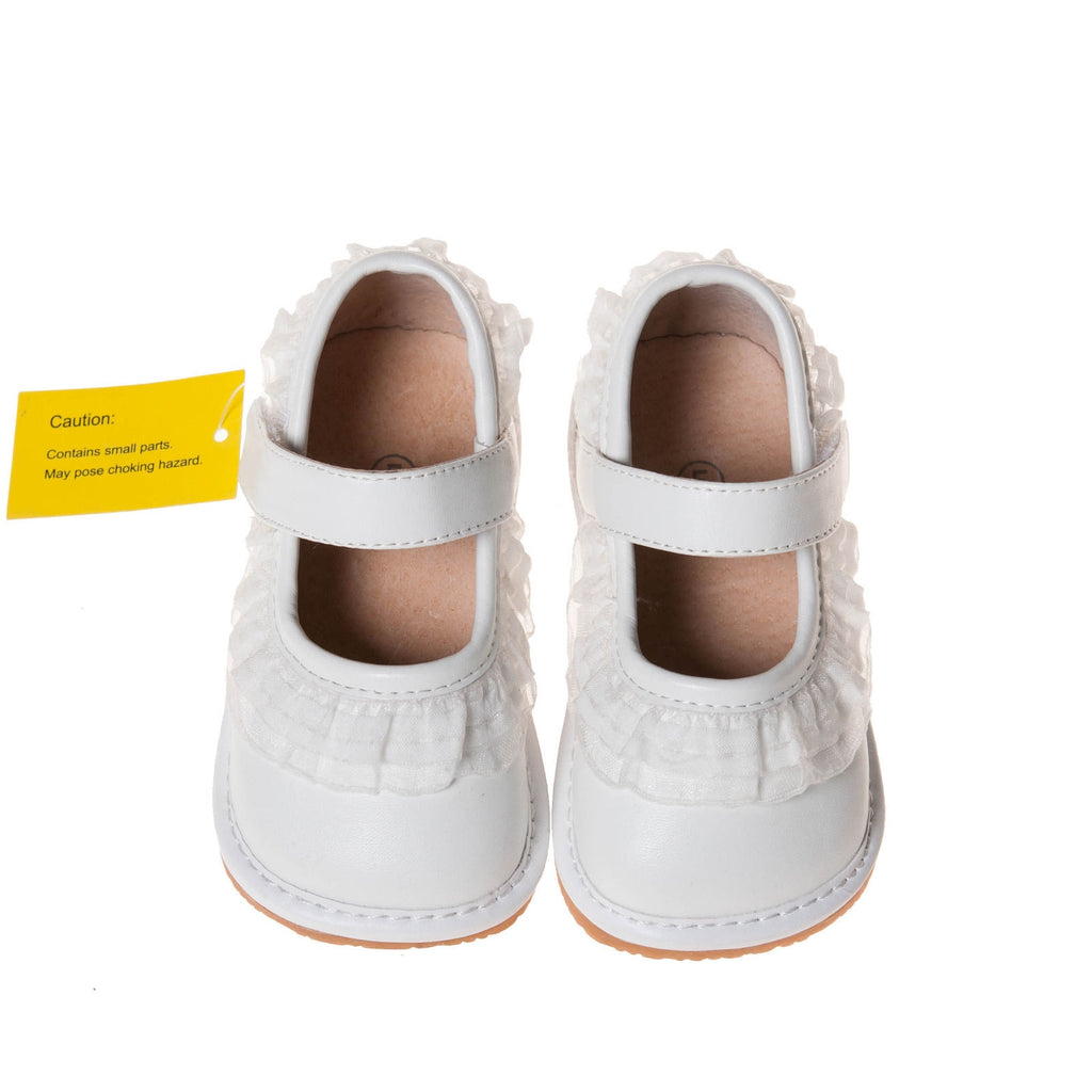 Leather Toddler Girl's White Ruffle Mary Jane Squeaky Shoes