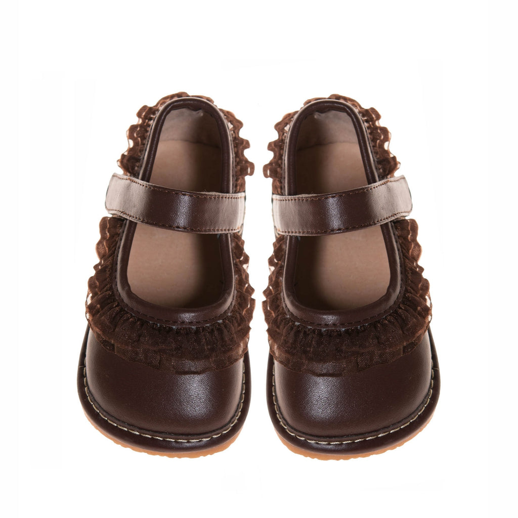 Leather Toddler Girl's Brown Ruffle Mary Jane Squeaky Shoes