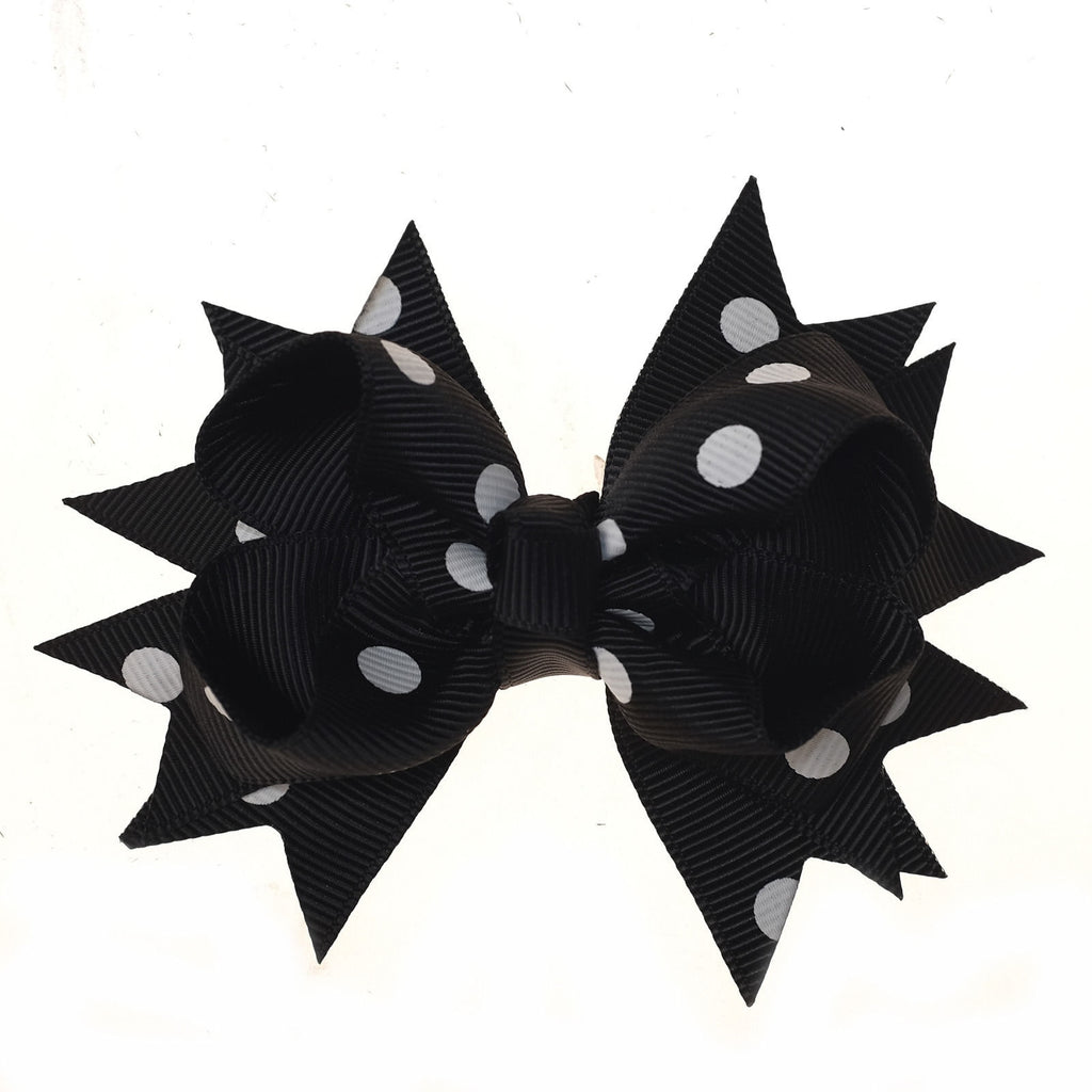Black and White Polka Dot Clip on Hair/Shoe Bow (Sold Individually)