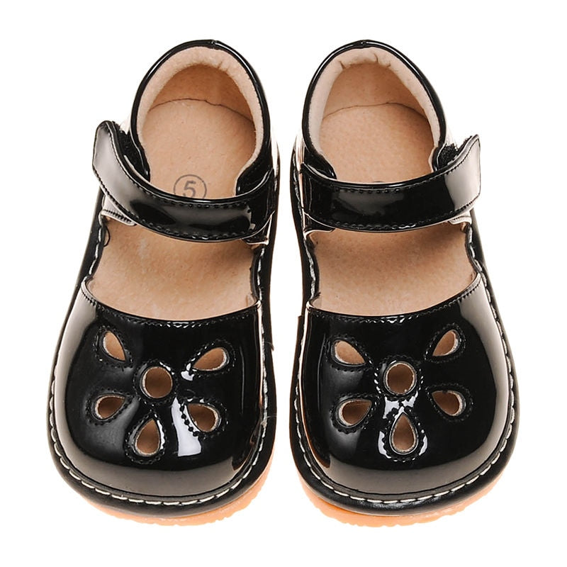 Leather Toddler Girl's Black Paten Petal Squeaky Shoes