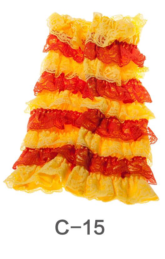C-15 Toddler Girl's Yellow/Orange Ruffle Lace Leg Warmers