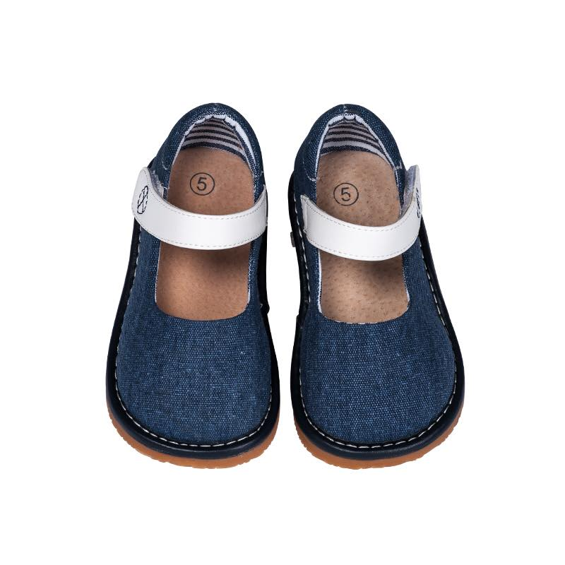 Toddler Girl's Casual Canvas Denim Mary Jane Squeaky Shoes