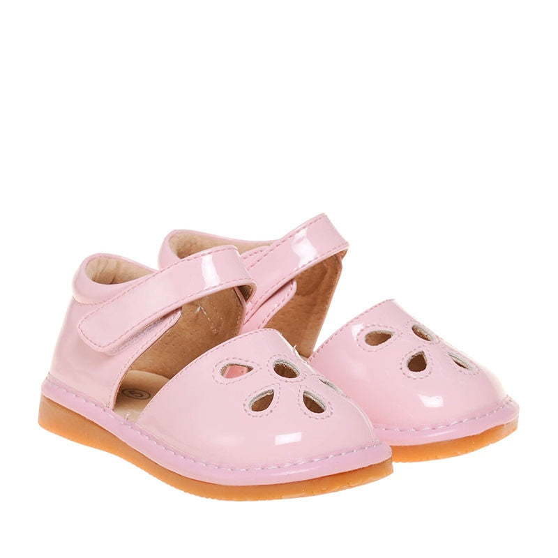 CLOSEOUT SALE!Leather Toddler Girl's Light Pink Paten Petal Squeaky Shoes