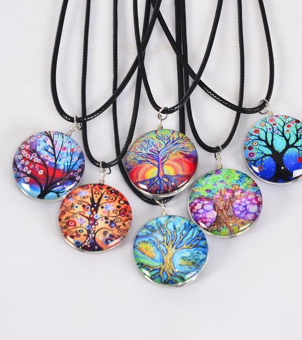 MS-0044 Necklace Tree Of Life Double Sided Glass Dome