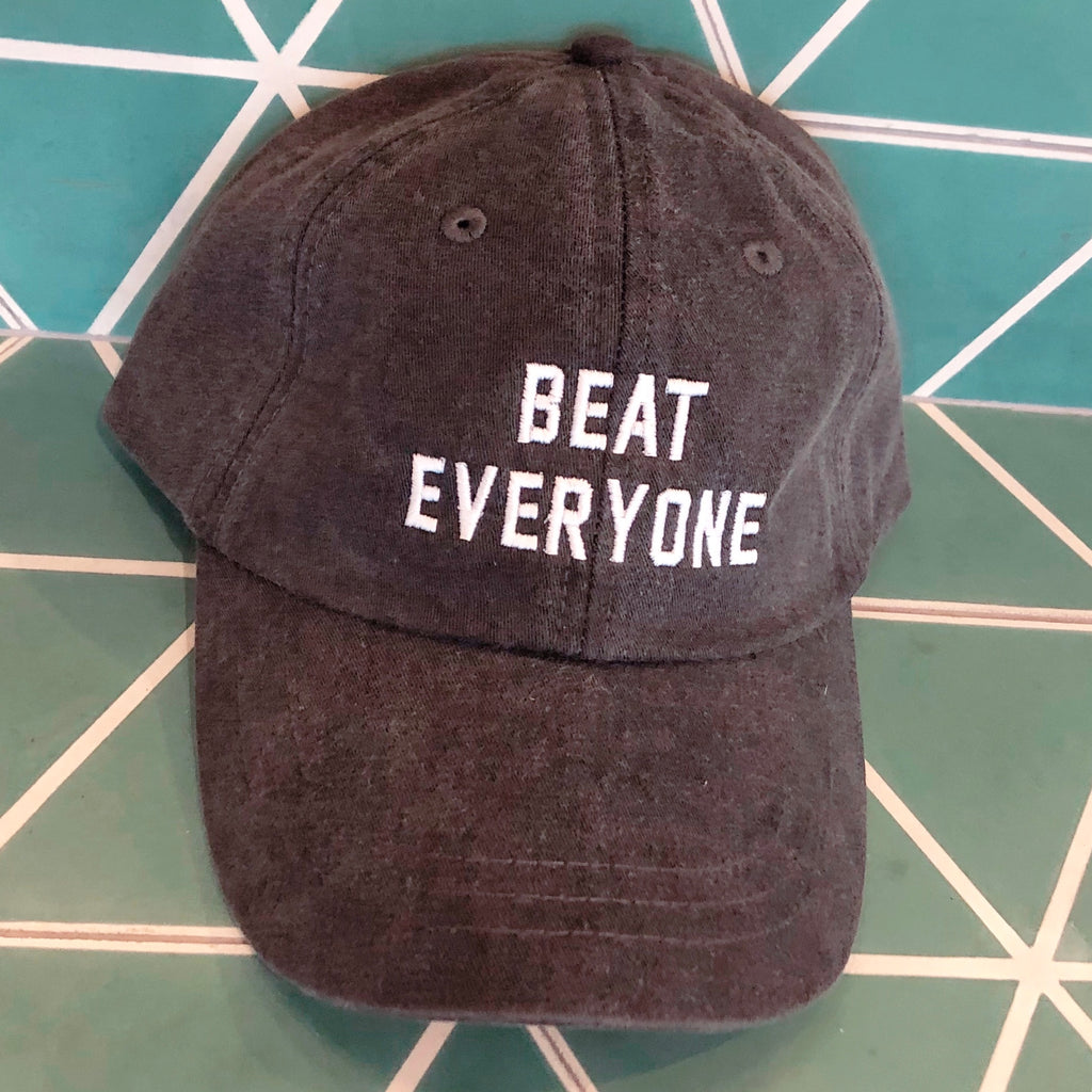 """Beat Everyone"" Baseball Cap - Heather Black"